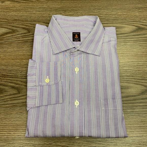 Robert Talbott Purple & Navy Stripe Shirt 17.5